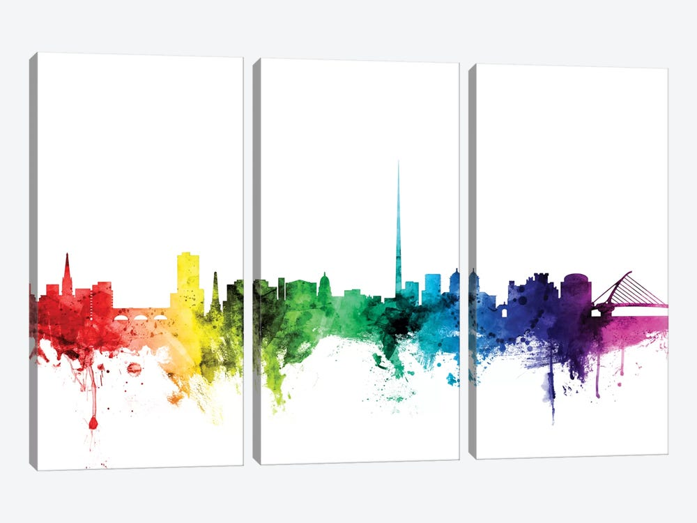 Rainbow Skyline Series: Dublin, Republic Of Ireland by Michael Tompsett 3-piece Art Print
