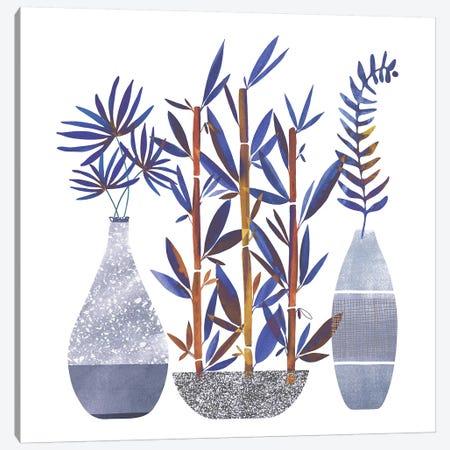 Indigo Flora Trio Canvas Print #MTP106} by Modern Tropical Canvas Wall Art