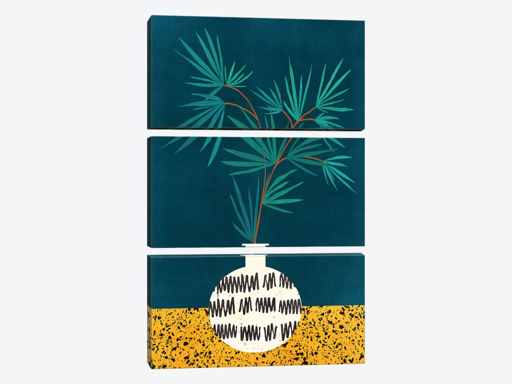 Night Palm by Modern Tropical 3-piece Canvas Print