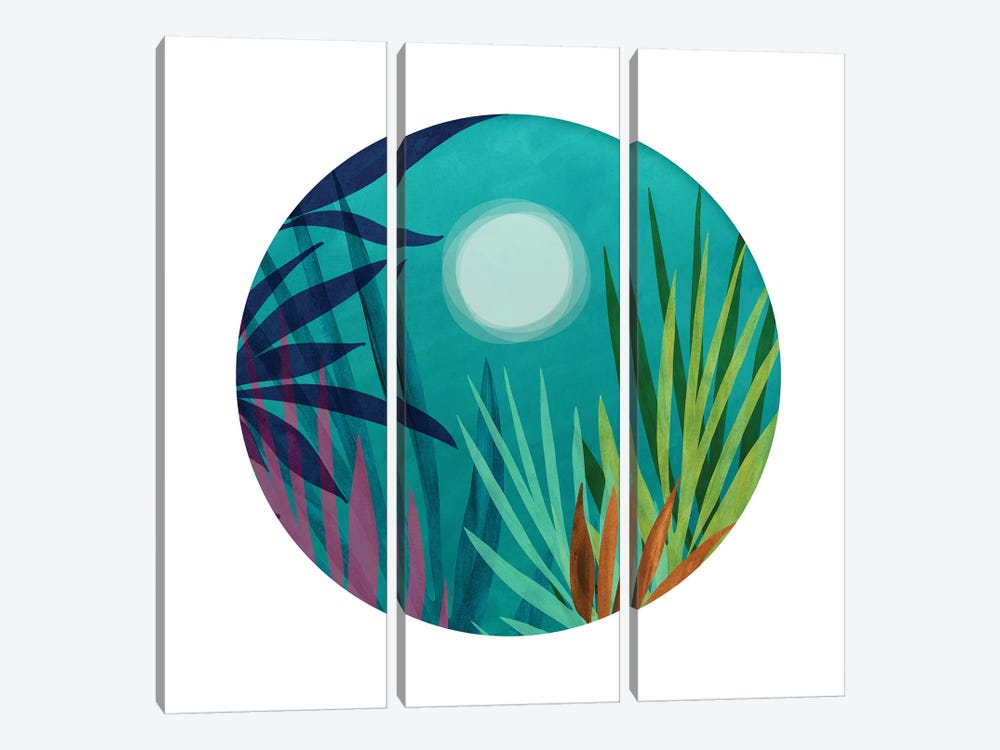 Night Hiking In the Tropics by Modern Tropical 3-piece Canvas Print