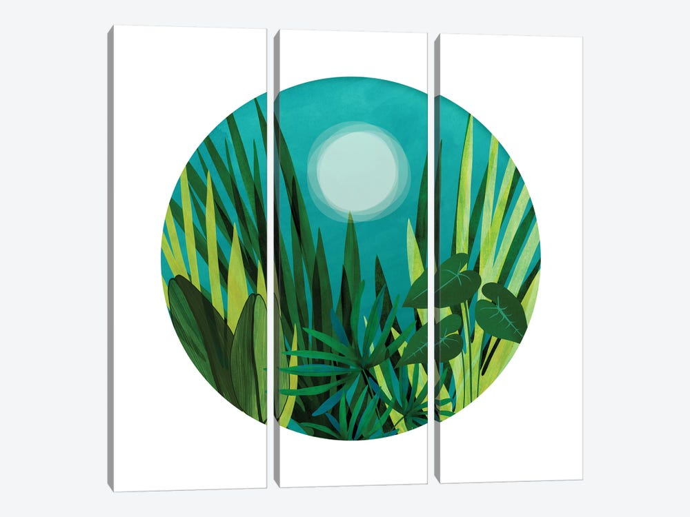 Tropical Night Garden by Modern Tropical 3-piece Canvas Print