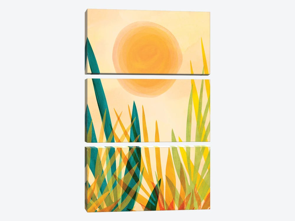 Golden Garden by Modern Tropical 3-piece Canvas Wall Art
