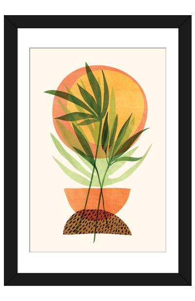 Retro Sunset Garden Framed Art Print