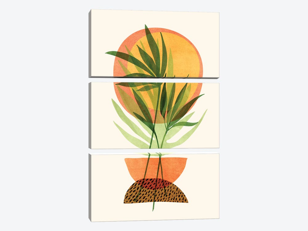 Retro Sunset Garden by Modern Tropical 3-piece Canvas Print