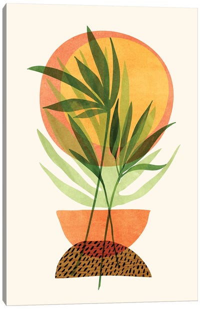 Retro Sunset Garden Canvas Art Print