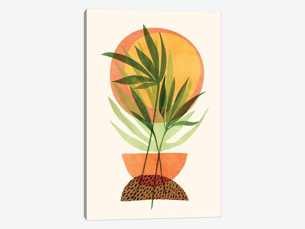 Retro Sunset Garden by Modern Tropical 1-piece Canvas Art Print