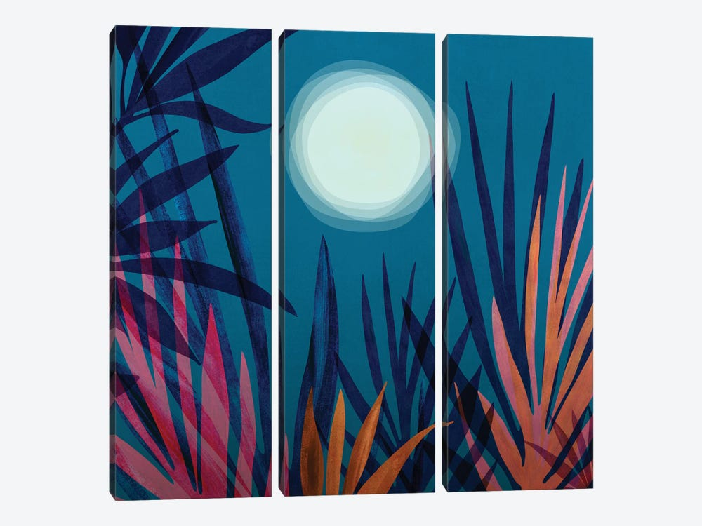 Moonlit Garden by Modern Tropical 3-piece Canvas Wall Art