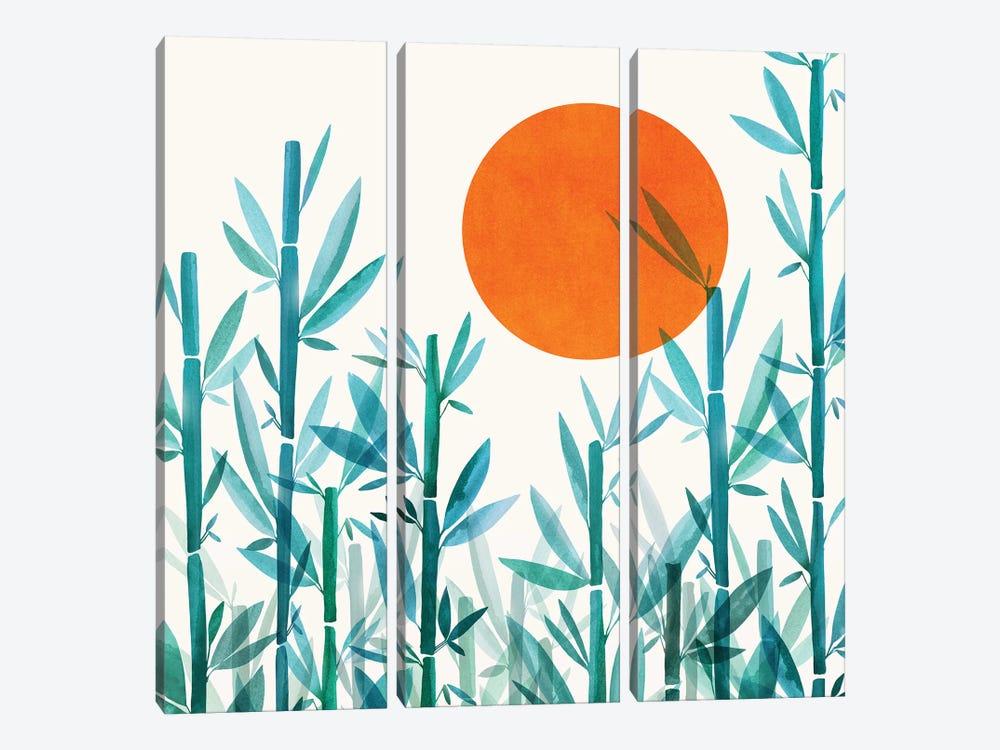 Zen Garden Sunset by Modern Tropical 3-piece Canvas Wall Art
