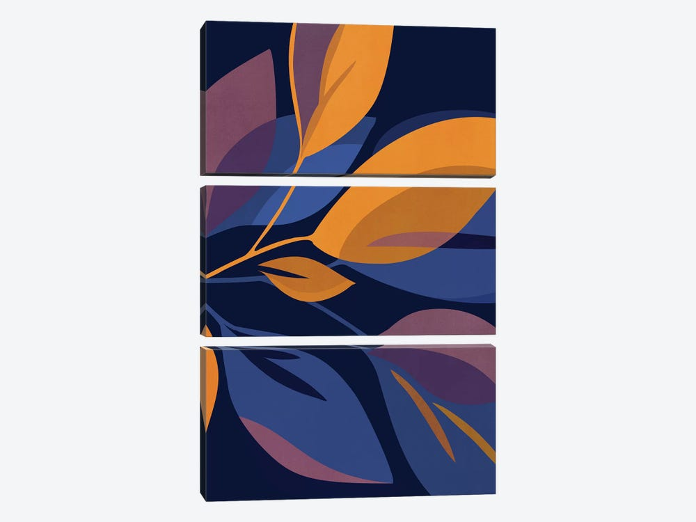 Scorpio Dark Floral by Modern Tropical 3-piece Art Print