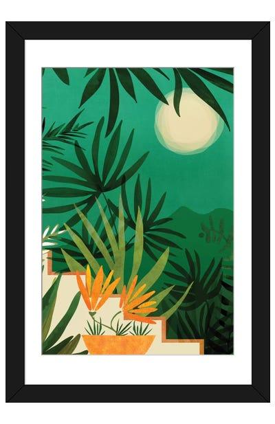 Exotic Garden Nightscape Framed Art Print