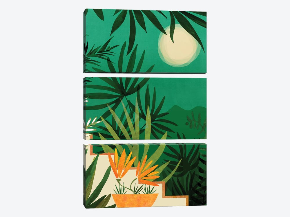 Exotic Garden Nightscape by Modern Tropical 3-piece Canvas Print