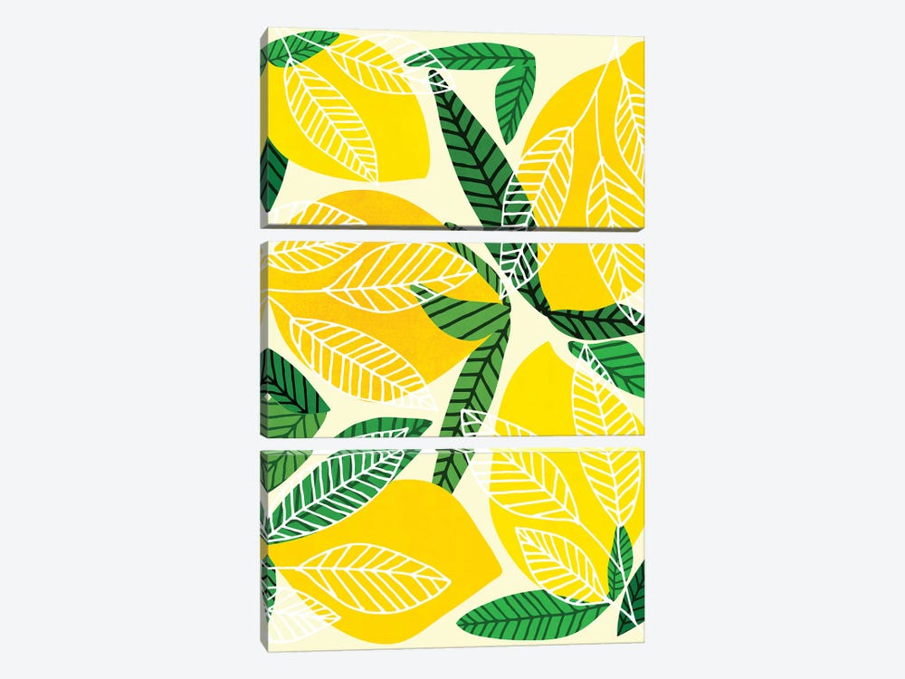 The Lemon Party by Modern Tropical 3-piece Canvas Print