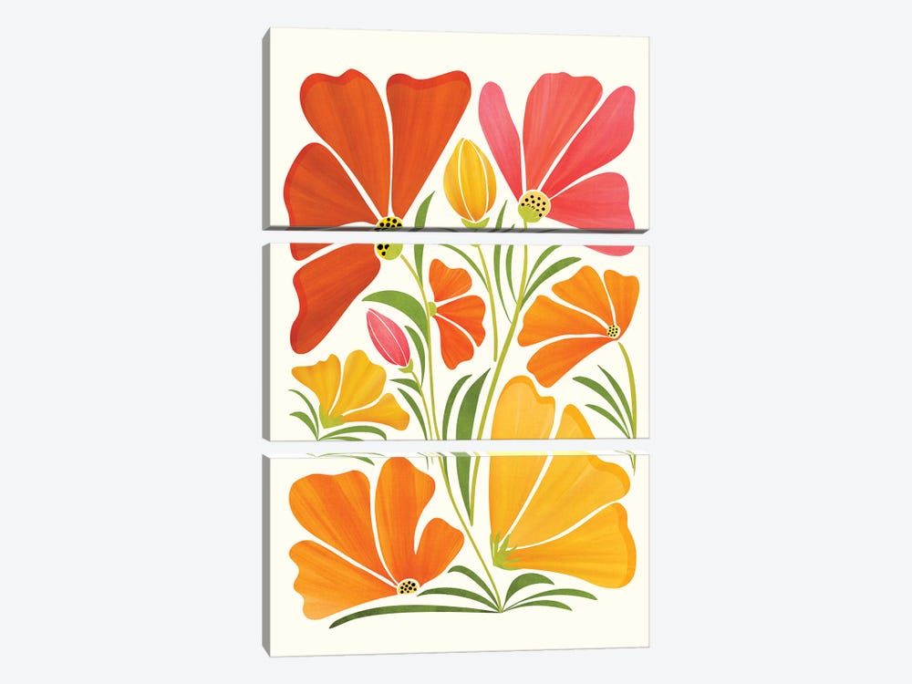 Summer Wildflowers by Modern Tropical 3-piece Art Print