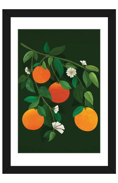 Oranges And Blossoms Framed Art Print