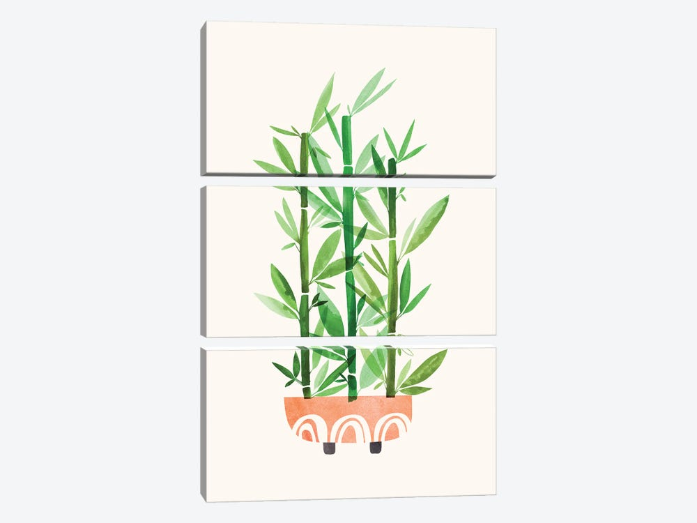 Happy Bamboo by Modern Tropical 3-piece Canvas Artwork