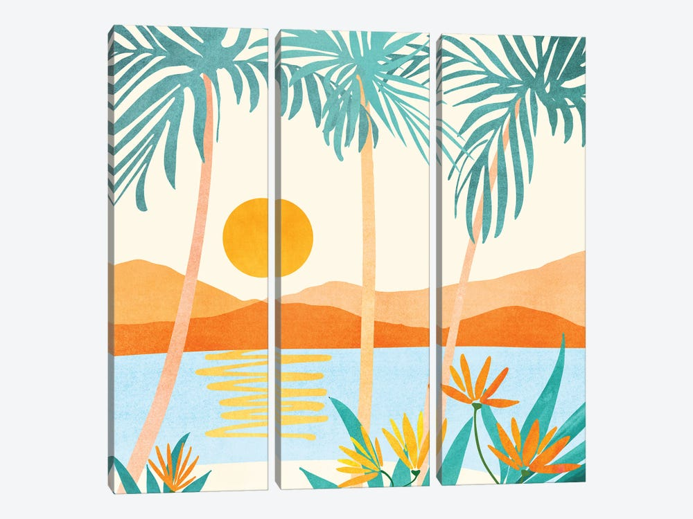 Bali Sunset by Modern Tropical 3-piece Canvas Art Print