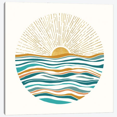 The Sun and The Sea II 3-Piece Canvas #MTP169} by Modern Tropical Canvas Print