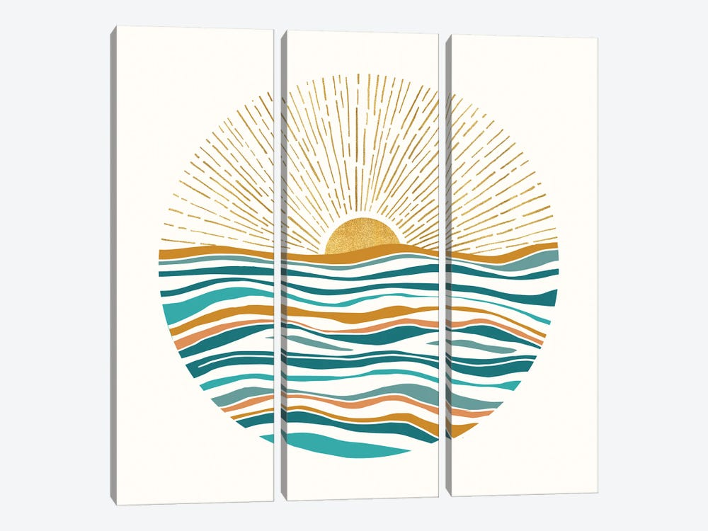 The Sun and The Sea II by Modern Tropical 3-piece Canvas Wall Art