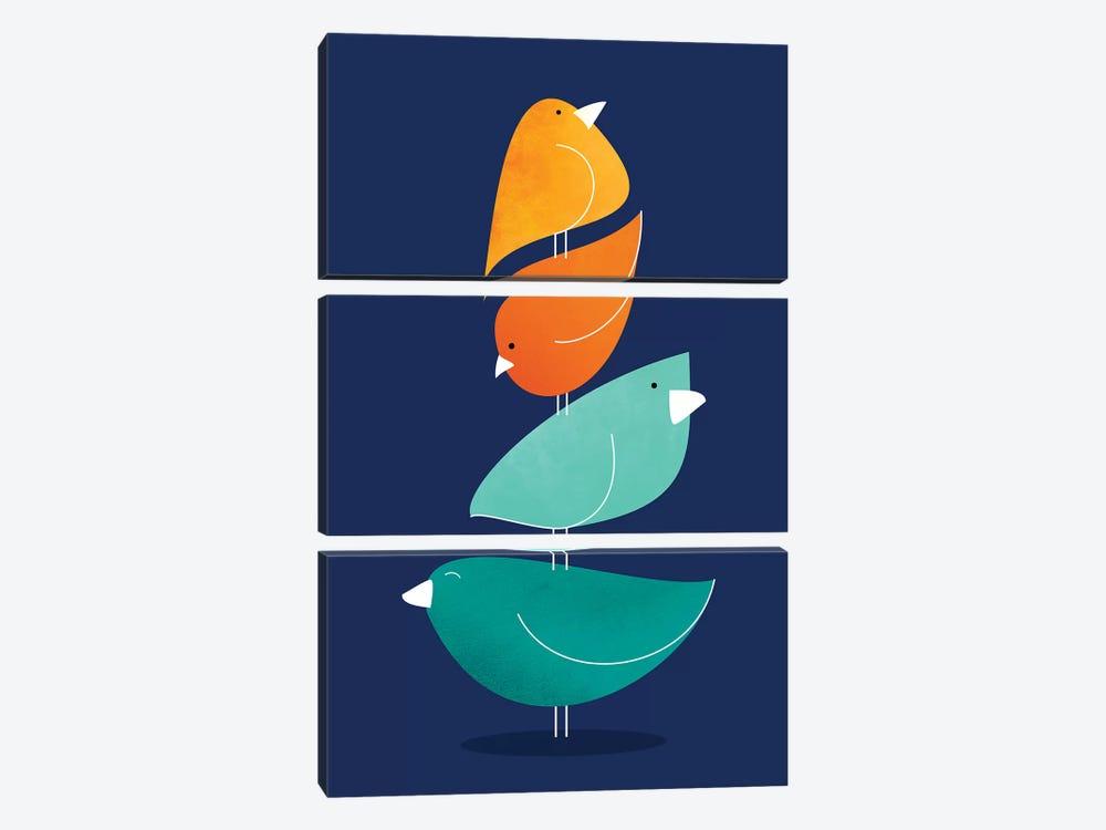 Bird Stack I by Modern Tropical 3-piece Canvas Wall Art