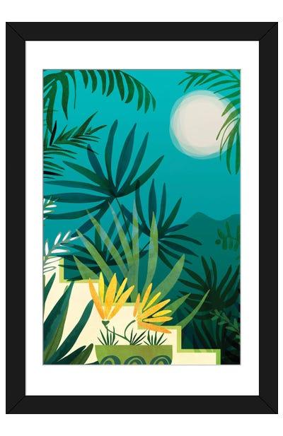 Rainforest With Moonlight Framed Art Print