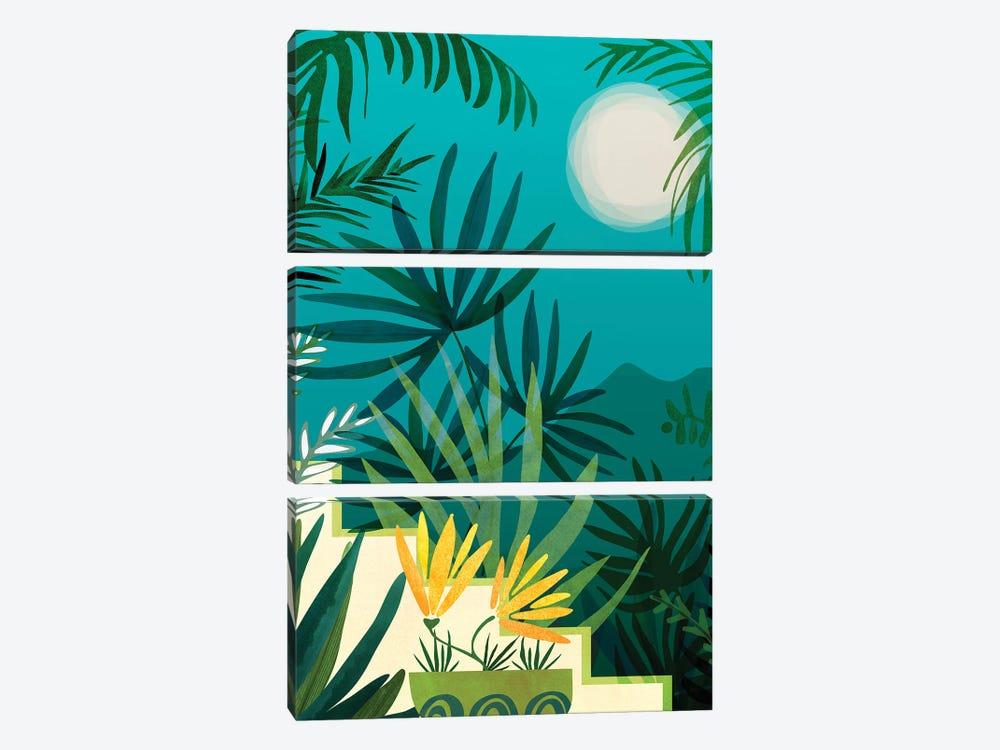 Rainforest With Moonlight by Modern Tropical 3-piece Art Print