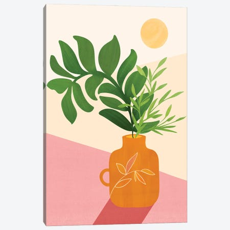 Greenery + Sunlight Canvas Print #MTP190} by Modern Tropical Canvas Artwork
