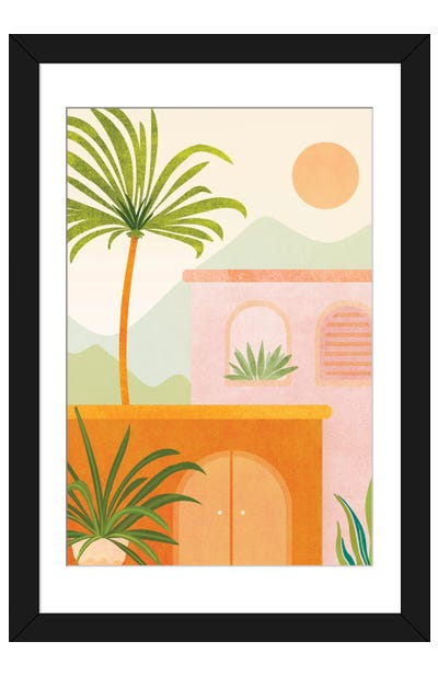 Tropical Mountain Village Framed Art Print