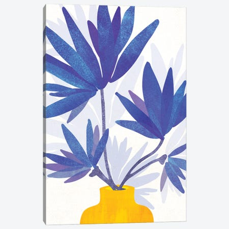 Indigo Blooms Canvas Print #MTP196} by Modern Tropical Art Print