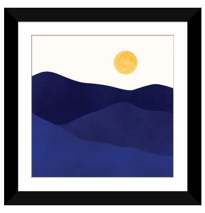 Indigo Mountain Landscape Framed Art Print