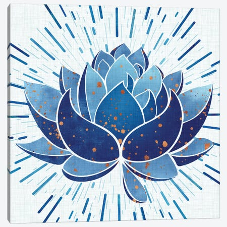 Blooming Indigo Lotus Canvas Print #MTP19} by Modern Tropical Canvas Print