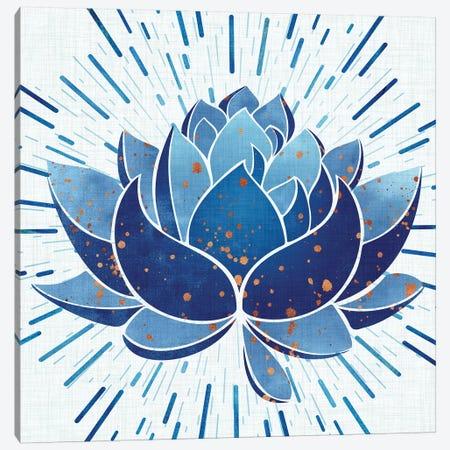 Blooming Indigo Lotus Canvas Print #MTP19} by Modern Tropical Canvas Print