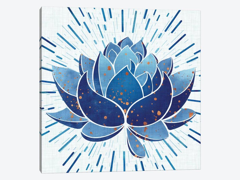 Blooming Indigo Lotus by Modern Tropical 1-piece Canvas Artwork