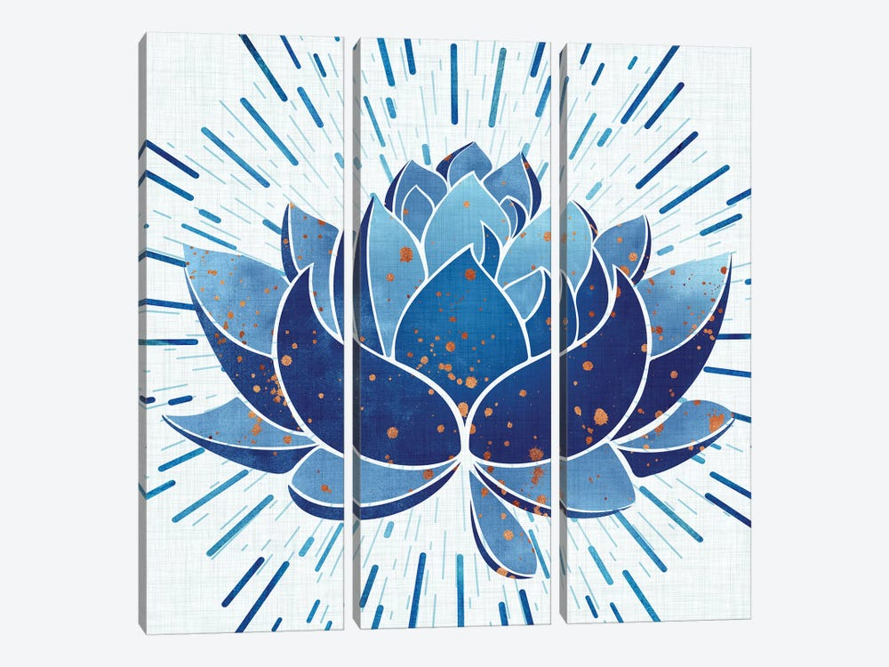 Blooming Indigo Lotus by Modern Tropical 3-piece Canvas Wall Art