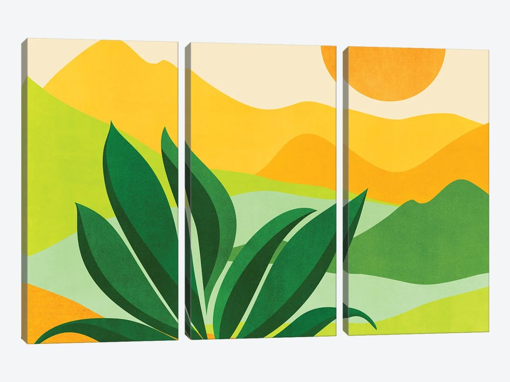 Peaceful Mountain Paradise by Modern Tropical 3-piece Canvas Wall Art