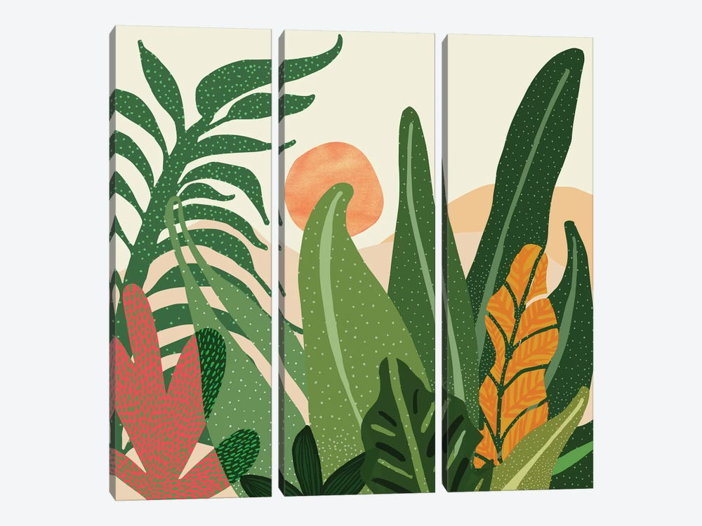 Desert Garden Sunset by Modern Tropical 3-piece Canvas Art Print