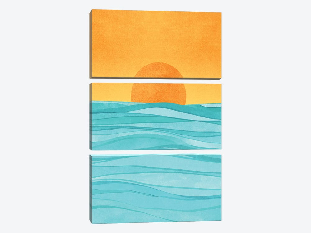 Coastal Sunset by Modern Tropical 3-piece Canvas Art