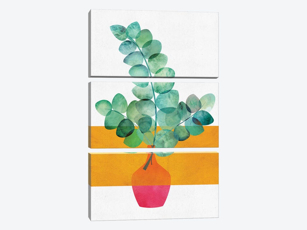 Eucalyptus And Sunshine by Modern Tropical 3-piece Canvas Art Print