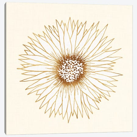 Gold Sunflower Canvas Print #MTP27} by Modern Tropical Art Print