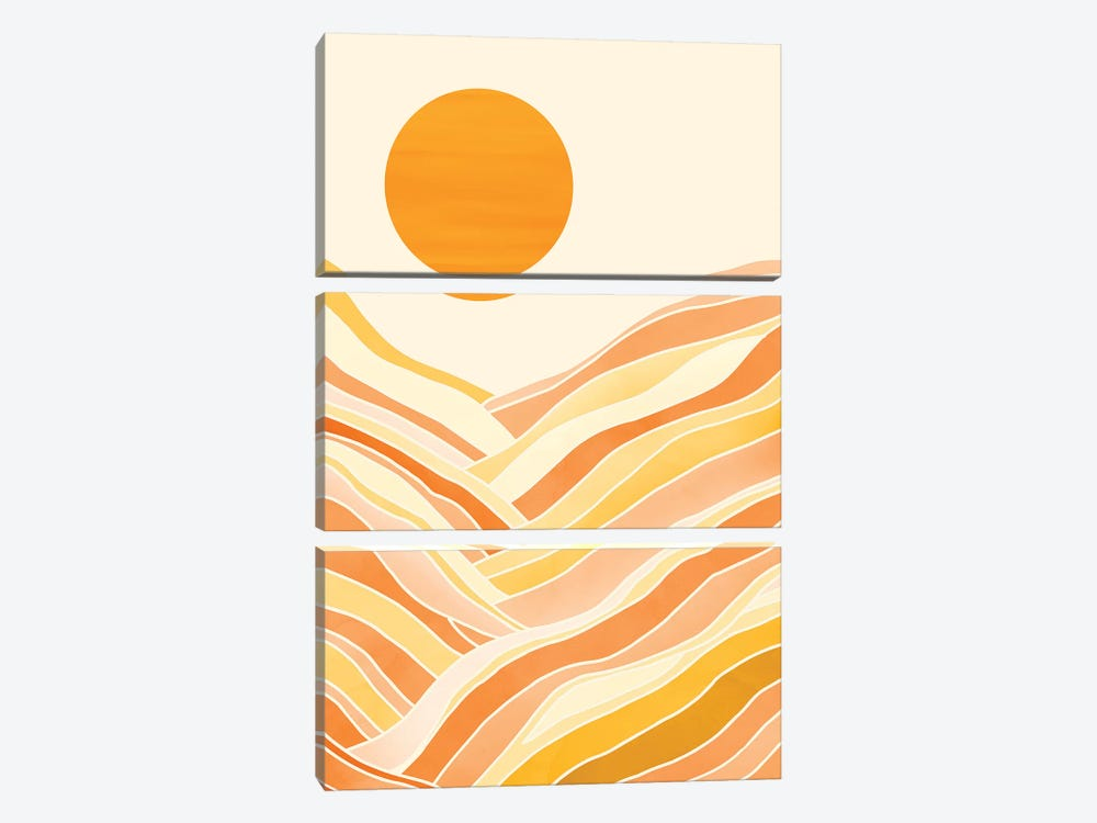 Golden Mountain Sunset by Modern Tropical 3-piece Canvas Artwork