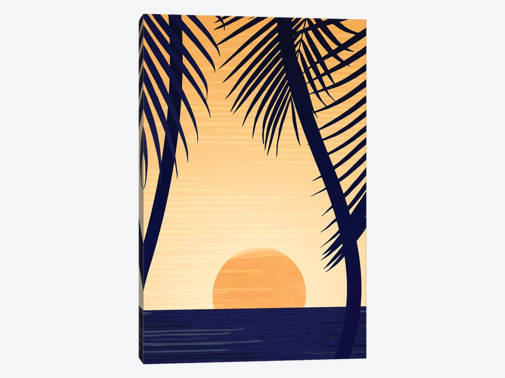 Golden Sunset by Modern Tropical 1-piece Canvas Art Print