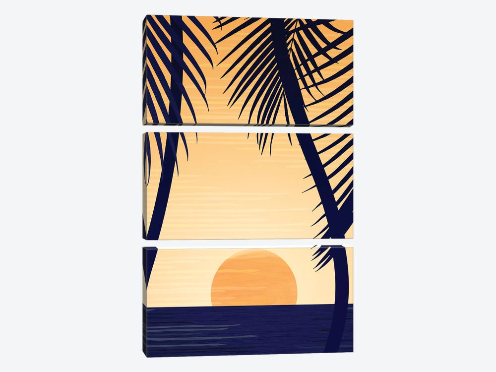 Golden Sunset by Modern Tropical 3-piece Canvas Art Print