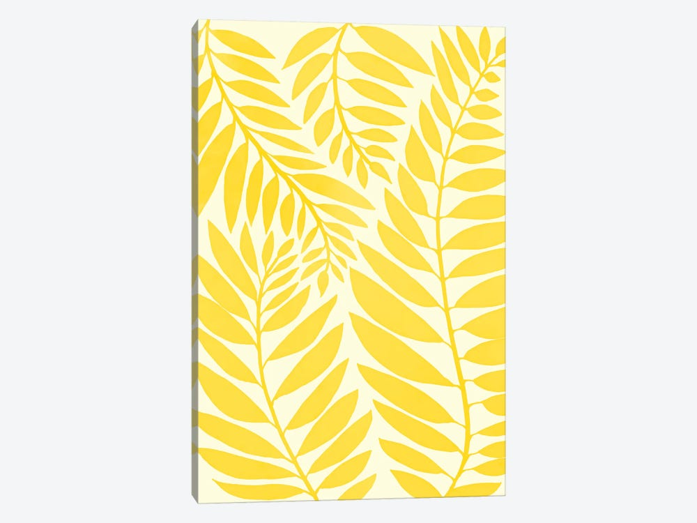 Golden Yellow Leaves by Modern Tropical 1-piece Canvas Print