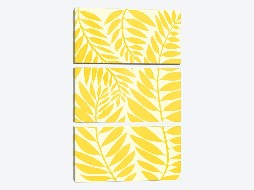 Golden Yellow Leaves by Modern Tropical 3-piece Art Print