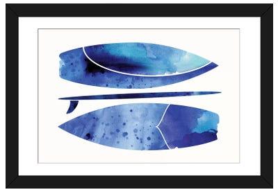 Indigo Surfboard Watercolor Framed Art Print