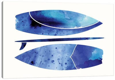 Indigo Surfboard Watercolor Canvas Art Print