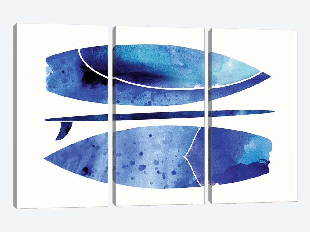 Indigo Surfboard Watercolor by Modern Tropical 3-piece Canvas Wall Art
