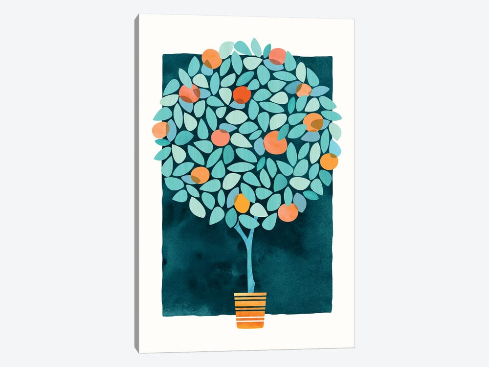Orange Tree At Midnight by Modern Tropical 1-piece Canvas Art Print