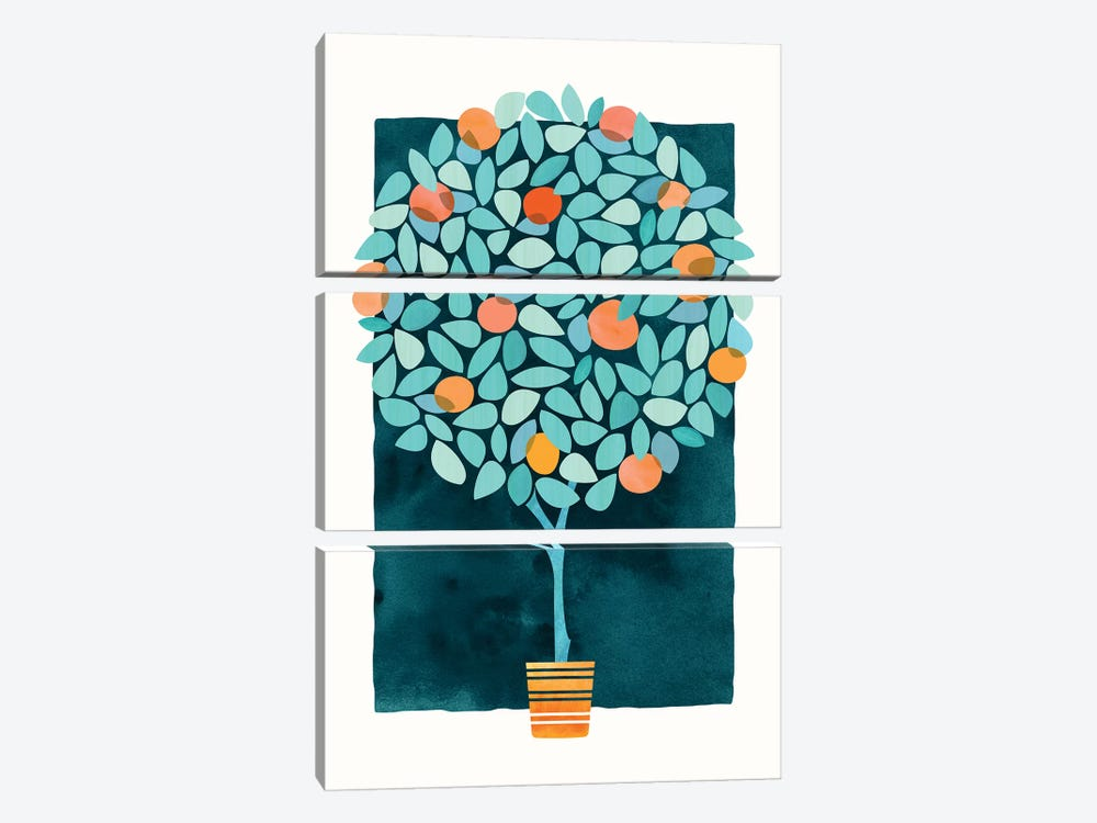 Orange Tree At Midnight by Modern Tropical 3-piece Canvas Art Print