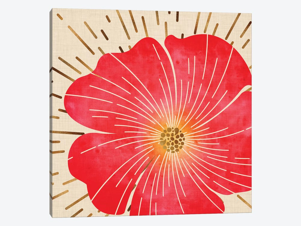 Red Hibiscus by Modern Tropical 1-piece Canvas Wall Art
