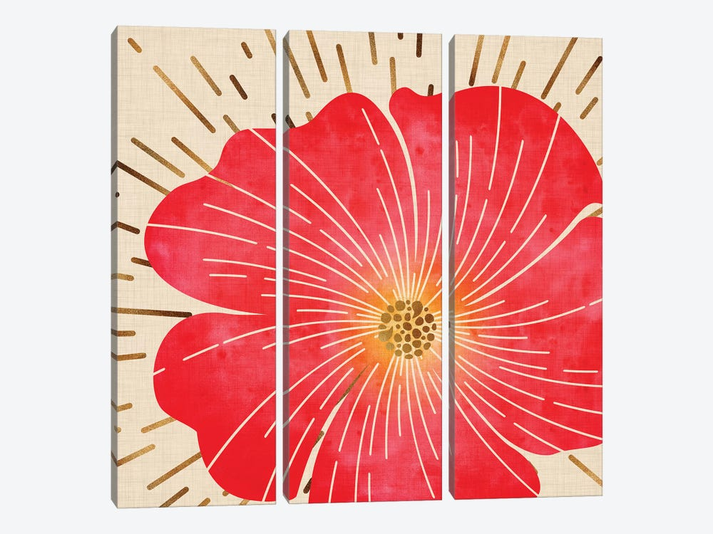 Red Hibiscus by Modern Tropical 3-piece Canvas Art